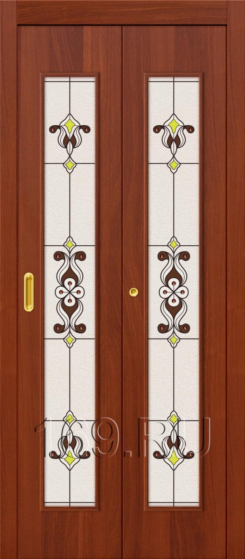 Складные дверь ламинированные 23х л-11 (италорех) остекленна.