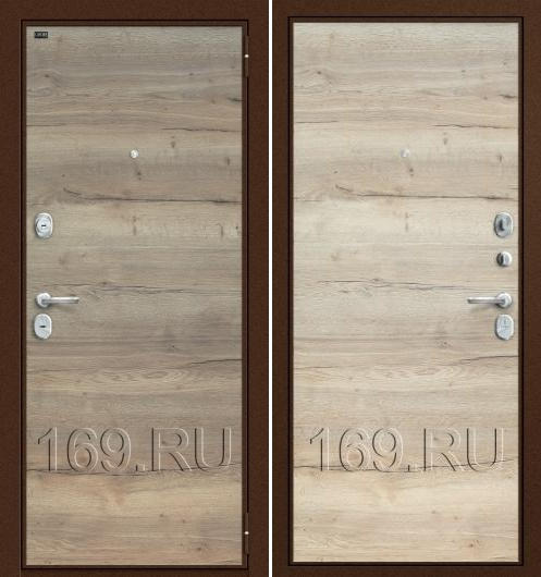"Дверь входная металлическая Groff ""Т3-300"" Tobacco Oak/Natural Oak"